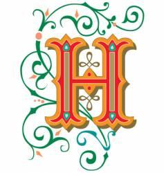 floral letter h vector image