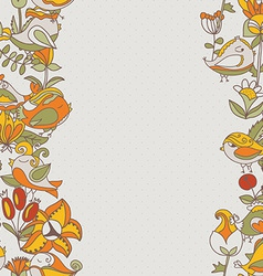flowers and birds seamless texture pattern border vector image