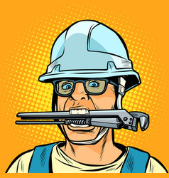 Funny working professional plumber with a wrench vector