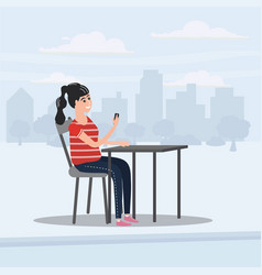 girl teenager looks in smartphone table in cafe vector image