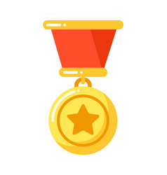 Golden medal with star with ribbon military vector