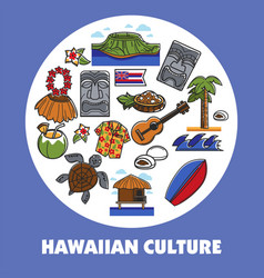hawaiian symbols hawaii culture traveling and vector image