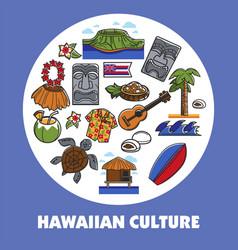 hawaiian symbols hawaii culture traveling vector image