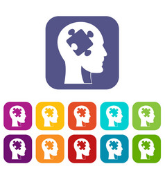 head with puzzle icons set flat vector image vector image