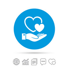Hearts and hand sign palm holds love symbol vector