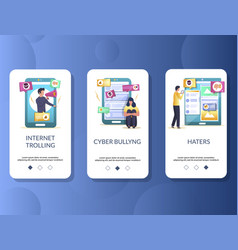 Internet trolling mobile app onboarding screens vector