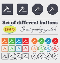 Judge hammer icon Big set of colorful diverse vector