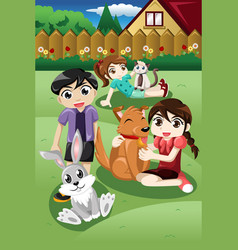 Kids playing with their pets vector