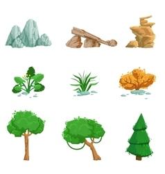 Landscape Natural Elements Set Of Detailed Icons vector image