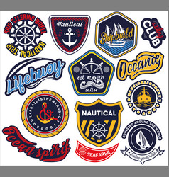 large selection nautical and maritime labels vector image