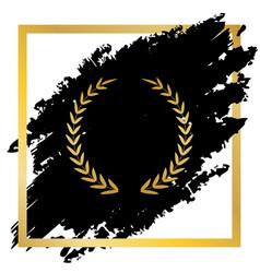 Laurel wreath sign golden icon at black vector
