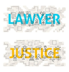 Lawyer Justice Line Art Concept vector image