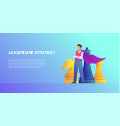 Leadership strategy cartoon banner with chess vector
