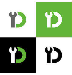 Letter d with wrench tool repair and maintenance vector