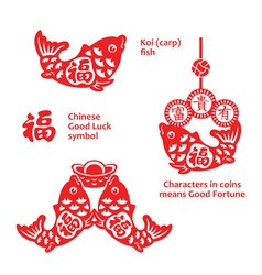 Lucky carp ornaments vector image