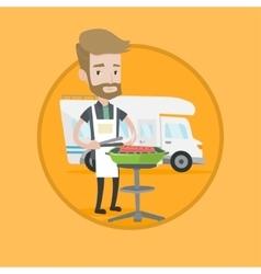 Man having barbecue in front of camper van vector image