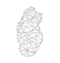map of qatar from polygonal black lines and dots vector image