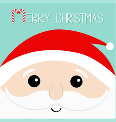 Merry christmas candy cane santa claus head face vector