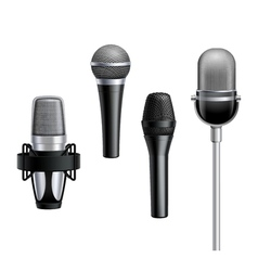 Microphone Collection In Realistic Style vector image