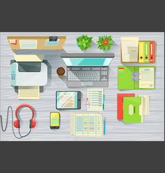 Modern office desk elements set view from above vector