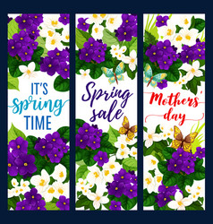 Mother day and spring holiday floral greeting card vector