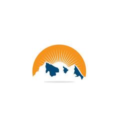 mountain nature sun shine logo vector image