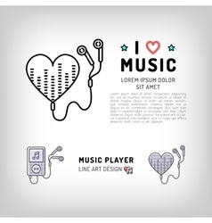 music player isolated icon i love vector image