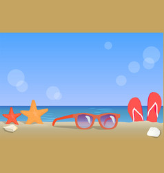 ocean coast view summer landscape colorful poster vector image