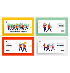 Orchestral march parade landing page template set vector