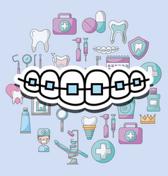 Orthodontics dental care and treatment therapy vector