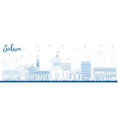 outline salem oregon city skyline with blue vector image