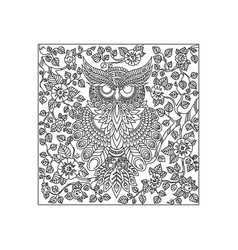 owl bird animal ornament vector image