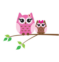 owls in the tree branch vector image