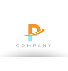 P orange blue logo icon alphabet design vector