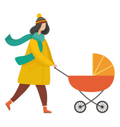 Parent with pram in autumn park motherhood vector
