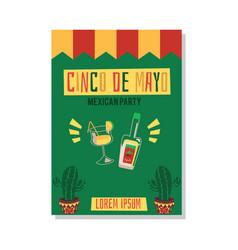 party cinco de mayo with tequila and alcohol vector image