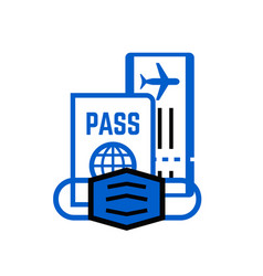 Passport fly ticket and mask travel icons set vector