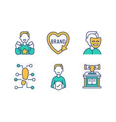 Personal branding green orange rgb color icons set vector