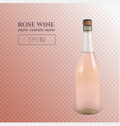 photorealistic bottle of rose sparkling wine on a vector image