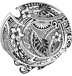 Polynesian ornament with ethnic elements vector