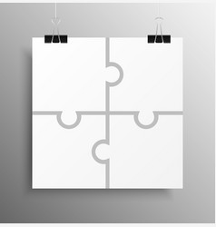 Poster banner four pieces puzzle infographic vector