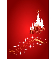Red Christmas background with gifts vector