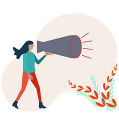 Refer a friend concept woman shouting on megaphone vector