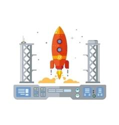 Rocket startup flat design concept vector