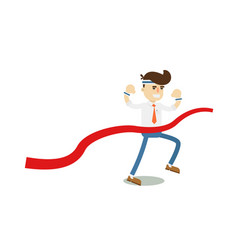 running businessman at finish icon vector image