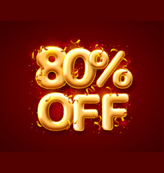 sale 80 off ballon number on red background vector image
