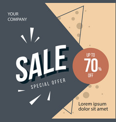 sale special offer up to 70 off template design vector image