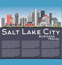 Salt lake city skyline with gray buildings blue vector