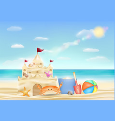 sand castle on a sea sand beach vector image