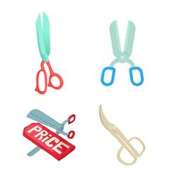 scissors icon set cartoon style vector image